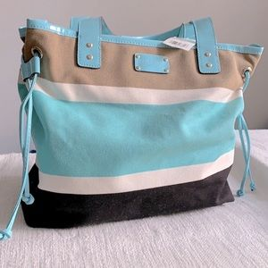 🎉HP!🎉 Kate Spade turquoise & white striped tote